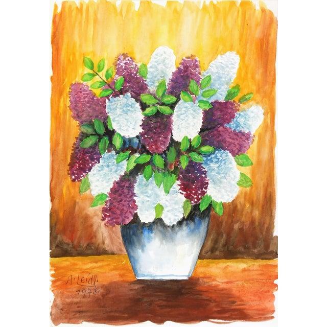 Albert Liedl Vintage 1978 Flowers Painting - Image 1 of 4