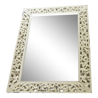 Vintage Carved Rustic White Washed Mirror