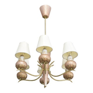 Murano Six-Arm Glass and Brass Chandelier