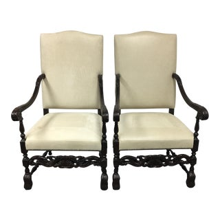 Edwardian Cream Leather Chairs - A Pair