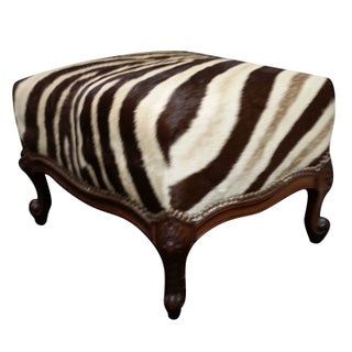 Antique Footstool Covered with Zebra Hide