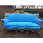 Image of Electric Blue Baroque-Style Sofa