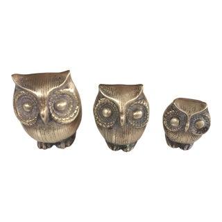 Miniature Brass Owls - Set of 3