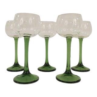 French Green Stemmed Wine Goblets - Set of 5