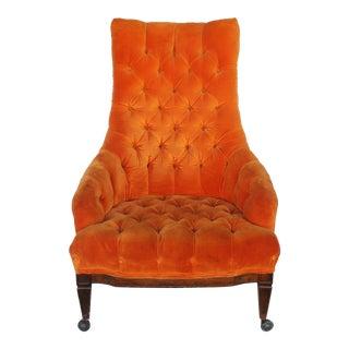 Mid-Century Modern Orange Velvet Ocassional Chair