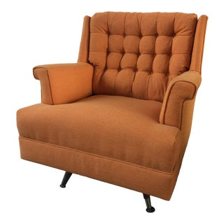 Mid-Century Orange Reupholstered Club Chair