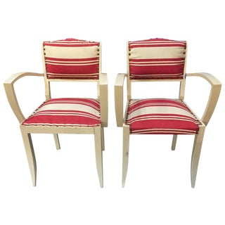 1930's French Red Striped Arm Chairs - A Pair