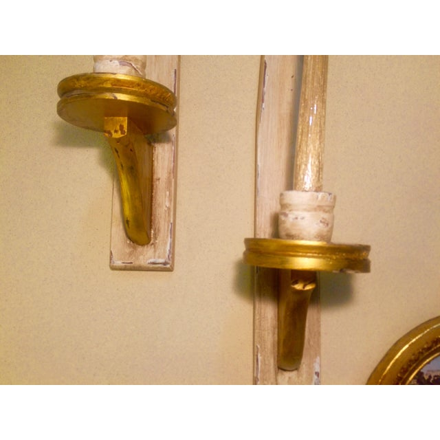 Image of Vintage Wooden Candle Sconces - A Pair