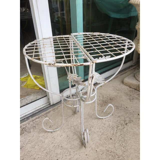 White Steel Mesh Coated Metal Demi-Lune Side Tables - a Pair - Image 6 of 6