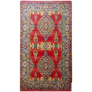 Early 20th Century Silk On Wool Paisley Blossom Indian Rug - 3′ × 5′3″