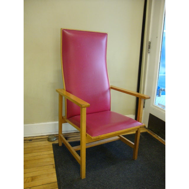 Mid-Century High Back Maple Armchair - Image 2 of 8