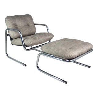 Chrome Arm Chair & Convertible Ottoman, 1970s - A Pair