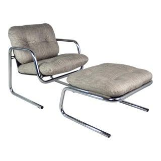 Chrome Arm Chair & Convertible Ottoman, 1970s - A Pair