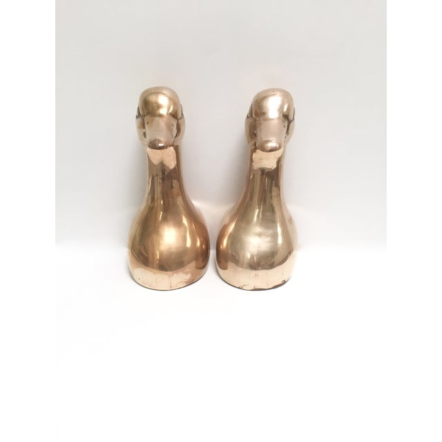 Image of Large Vintage Brass Duck Head Bookends- A Pair