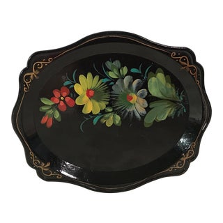 Black Hand Painted German Tole Tray