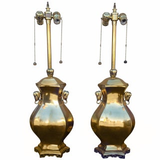 Asian Style Marbro Brass Table Lamps - Pair