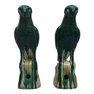 Vibrant Glazed Majolica Parrots - A Pair