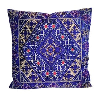 Swati Blue Embroidered Pillow
