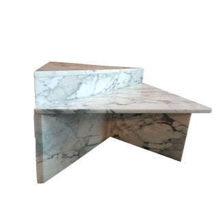 Triangular Shaped White Marble Coffee Tables - A Pair