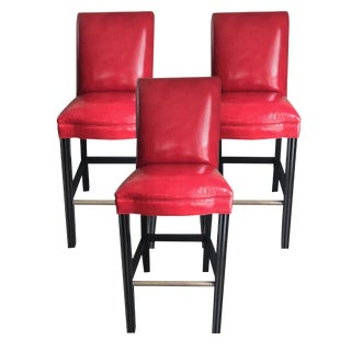 Brunschwig & Fils - Caledonian Leather Armless Bar Stools - Set of 3