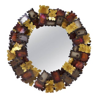 Brutalist Torch Cut Mixed Metals Mirror in the Manner of C. Jere Artisans