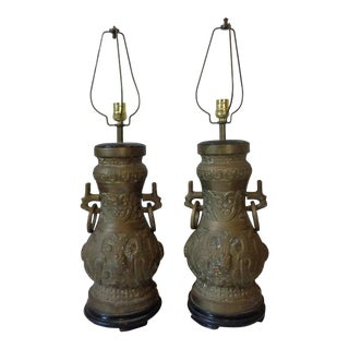 Solid Brass Asian Lamps - A Pair