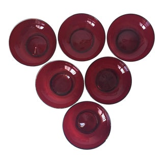 6 Venetian/Murano Ruby Hand-Blown Glass Bowls