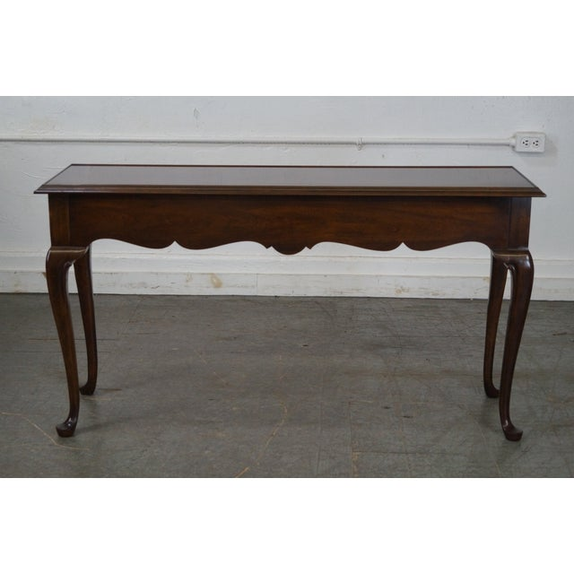 Drexel Heritage Queen Anne Style Cherry 2 Drawer Console Table - Image 4 of 10