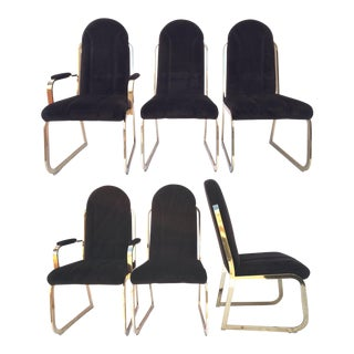 Chromcraft Brown Velvet Brass Dining Chairs - Set of 6