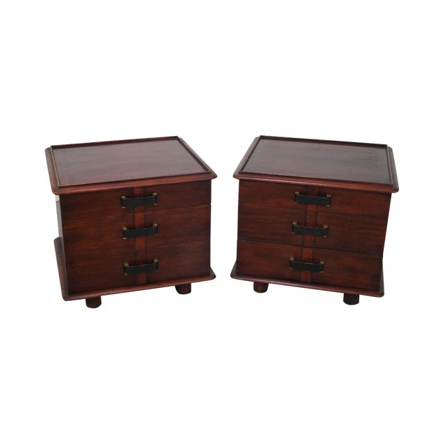Paul Frankl Johnson Furniture Mahogany Station Wagon Nightstands- A Pair - Image 1 of 10