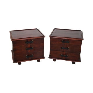 Paul Frankl Johnson Furniture Mahogany Station Wagon Nightstands- A Pair