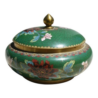 Vintage Green Cloisonné Bowl with Lid