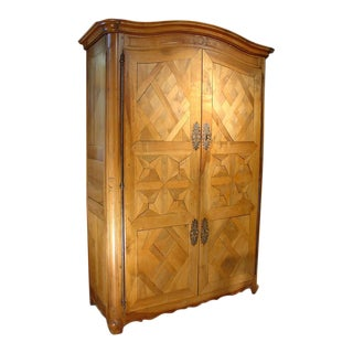 Early 1800's Antique Parquet Armoire- Chateau Bienassis, France