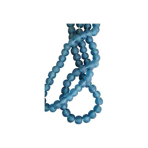 Image of Steel Blue Jumbo Sea Glass Bead Strands - A Pair