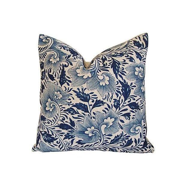 Custom Indigo Blue Floral Linen Pillows - Pair - Image 6 of 7