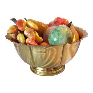 Italian Stone Alabaster Marble Fruit Set Brass Basket