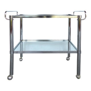 Mid-Century Chrome Double Handle Bar Cart