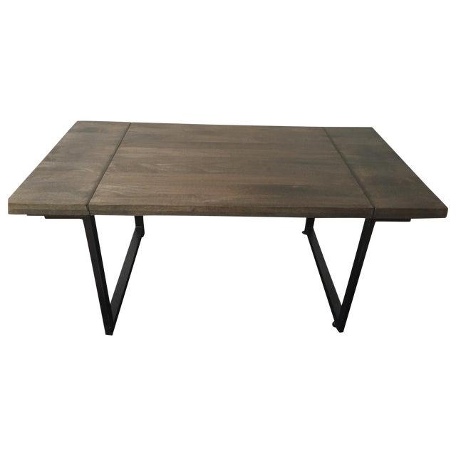 Modern Steel Base Wood Table Top - Image 1 of 5
