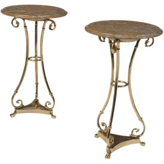Brass Marble Top Gueridons - A Pair