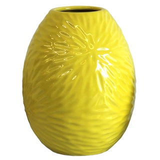 Large Yellow Feathered Sunburst Vase