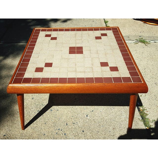 Mid-Century Modern Tile Top Corner Table - Image 2 of 5