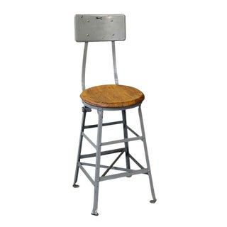 Industrial Stool With Wooden Seat