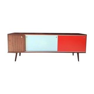 Mid-Century Style Custom Mint Orange Credenza