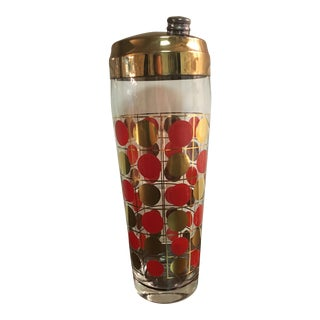 Vintage Red & Gold Dot Cocktail Shaker