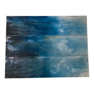 Modern Blue Water Oil Triptych