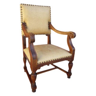 French Antique Oak & Leather Chair