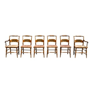 Harvest Line Americana Turtle Back Hitchcock Rush Seat Dining Chairs - Set of 6