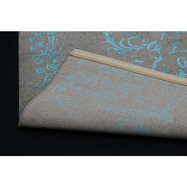 Gray & Turquoise Floral Pattern Rug - 4′5″ × 7′7″ - Image 3 of 4