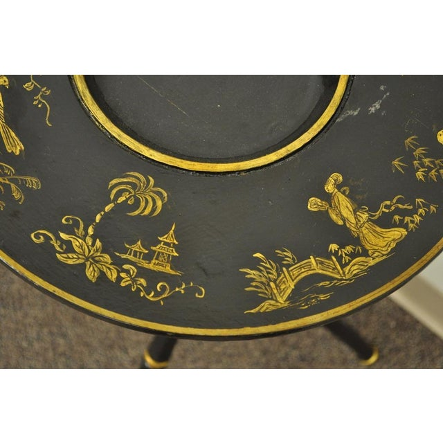 Antique Victorian English Decorated Faux Bamboo Tripod Occasional Side Table - Image 8 of 11