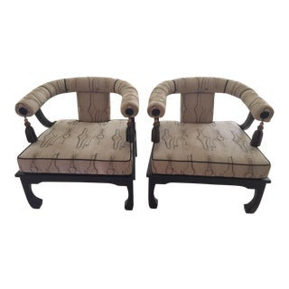 James Mont Faux Bois Patterned Accent Chairs - A Pair